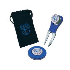 Petite poche cadeau noire avec relève-pitch marqueur de balle Atomic et porte marqueur de balle Atomic