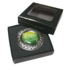 Support pour marqueur de balle Métal 40mm avec logo émail sur 2 côté dans boite cadeau