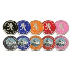 Pack de 5 x 50 marqueurs de balles métal avec logo émail 1 couleur sur 1 côté