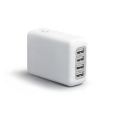ADAPTATEUR DE VOYAGE AVEC 4 PORTS USB EASY TRAVEL PERSONNALISE BLANC | PRODUITS HIGH-TECH  | GADGETS ELECTRONIQUES